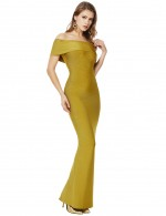 Exotic Split Green Cape Off Shoulder Bandage Dress Maxi Length Girls