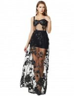 Black Embroidery Floral Open Back Mesh Bandage Dress Fashion Ideas