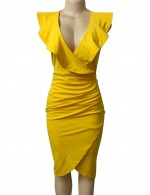 Noticeable Yellow Sleeveless Ruched V Neck Bodycon Dress Zip Understated Design