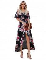 Pretty Smocking Backless Split Off Shoulder Maxi Dress Dress For Women