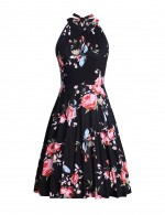 Outfit Sleeveless Floral Halter Knot Back Skater Dress Ideal Choice