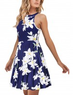 Glamorous Leaf Non-Sleeve Tie Back Skater Dress Unique Fashion