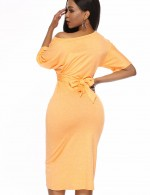 Ultra Cheap Slope Shoulder Yellow Knot Bodycon Dress Plain Ladies Fashion
