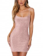 Pink Empire Waist Shine Scoop Neck Bodycon Dress Leisure
