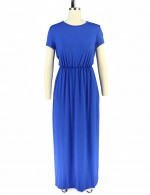 Blue Plain Empire Waist Pocket Maxi Dress Crew Neck Fashion Forward