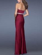 Gracious Wine Red Sweetheart Neck Backless Evening Dress Split Stretch