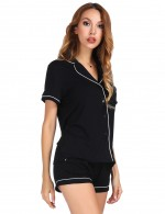 Fetching Black Single Breasted Modal Sleepwear Set Piping For Boudoir