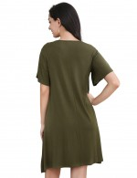 Sweety Army Green Short Sleeve Round Neck Hollow Mini Dress
