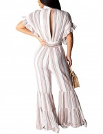 Sparkly Smocking White Hollow Stripe V Collar Jumpsuit Good Quality