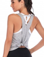 Shop Grey U Neck Hollow Out Sport Tank Top Fashion Forward