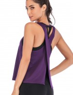 Staple Purple V Type Slit Back Yoga Tank Top Running Clothes