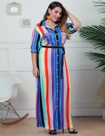 Spectacular Pocket Button Down Waist Belt Maxi Dress Big Size For Girls