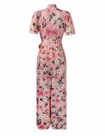 Brightly Big Size Short Sleeve Print Keyhole Maxi Dress Trend For Women