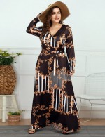 Close Fit Tie Wrap Queen Size Print Long Sleeve Maxi Dress