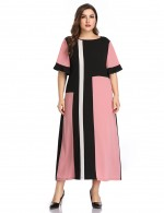 Premium Pink Flare Short Sleeve Big Size Colorblock Maxi Dress Fashion