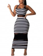 Ultra Hot White Mesh Stripes Contrast Color Bodycon Dress Outfits