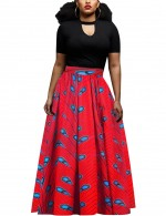 Flowing Pleated African Maxi Length Skirt Waist Elastic Chic Fashion