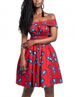 Breathtaking Red Knot African Mini Dress Multi-Wear Elastic Material