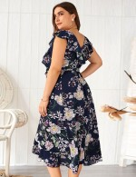 Sapphire Blue Floral Wrap Tie V Collar Flounce Big Size Midi Dress Workout