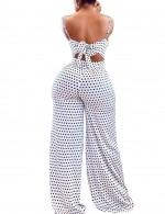 Demure White Slender Straps Backless Jumpsuits Polka Dot Women's Essentials