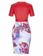 Fabulous Red Waist Knot Print Patchwork Bodycon Dress Gentle Fabric