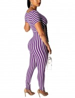 Sultry Purple Short Sleeve V Collar Stripe Knot Jumpsuit For Fashion