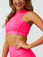 Cutie Pink Zipper Back Tank Sweat Suit High Waist Form Fit