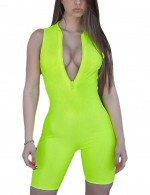 Colorful Green Sports Tank Short Plain Rompers Zipper Front Form Fit