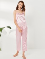 Staying Sweet Pink Lace Eyelash Sling Open Back Sleepwear Set U Neck Fit