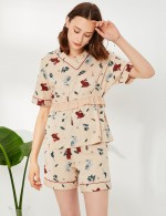 Exalted V Neck Print Ruched Waist Tie Short Sleepwear Set Cheap Online