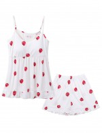 Vibrant White Strawberry Ruffle Sling Backless Sleepwear Set Allover Slim
