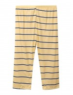 Yellow Elastic Waist Stripe Crew Neck Short Sleeves Pajamas Elastic Material