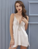 Romantic White Slender Straps Slit Chemises Lace Patchwork Affordable