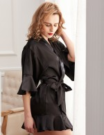 Fascinating Black Frill Trim Knot Wrapped Satin Nightwear Fashion Decor
