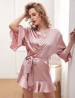 Women's Pink Wrist Sleeve Length Frill Satin Gown With Belt Comfort
