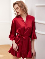 Magnificent Jujube Red Satin Frills Trim Waist Belt Bathing Robe Sale