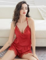 Classy Jujube Red Halter Silk Lace Slit Teddy Backless Lingerie Affordable