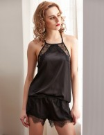 Wholesale Black Lace Eyelash Faux Silk Sleepwear Set Backless Lingerie