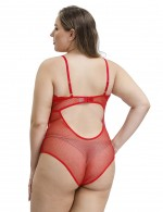 Staple Red Cut Out Lace Mesh V Neck Teddy Plus Size High Grade