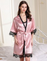 Beautiful Pink Adjustable Strap Lace Eyelash 2 Pcs Sleepwear Classic Fit