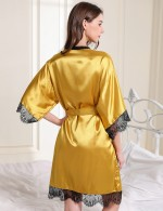 Glam Yellow Belt Faux Silk V Collar 2 Pcs Sleepwear Lace Love Forever