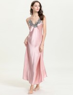 Captivating Pink V Neck Sling Open Back Sleepwear Faux Silk For Lady Fashion