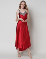 Relaxing Red Irregular Hem V Neck Faux Silk Sleepwear Lace High Grade Girls