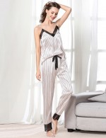 Explosive Light Pink Waist Tie Backless Adjustable Strap Sleepwear Set Style