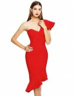 Showy Red Oblique Shoulder Ruffled Bandage Midi Dress Breath