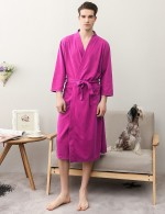 Admiring Rose Red Big Size Knotted Waist Male Night-Robe Solid Color