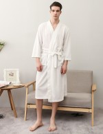 Best White Men Plus Size Pockets Bathing Robe With Belt Lightweight