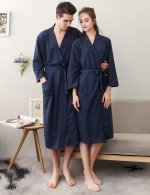 Evening Dark Blue Cotton Solid Color Night-Robe Large Size Online Inexpensive