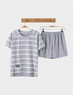 Girls Stripes Cotton 2 Pieces Sleepwear Plus Size Short Sleeves Online