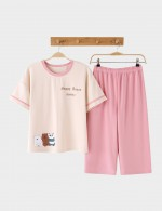 Intrigued Round Neck Cotton Cartoon Pattern Nightwear Set Woman High Grade